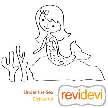 Under the sea (digital stamp, coloring image) S049, mermaid