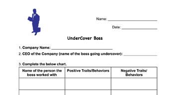 UnderCover Boss Worksheet- General