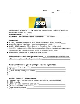 UnderCover Boss Worksheet 2 with Key (7-Eleven)