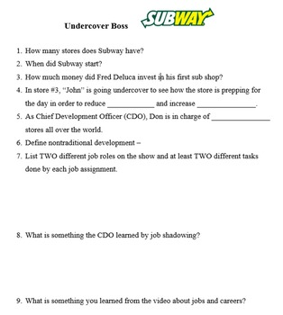 undercover boss subway classroom worksheet by sharon ansley tpt. Black Bedroom Furniture Sets. Home Design Ideas