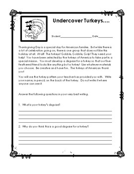 Undercover Turkey Art and Creative Writing Activity - Thanksgiving