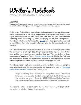 Underdog Abstract & Writing Prompts Inspired by Eagles, Steve Jobs, and others.
