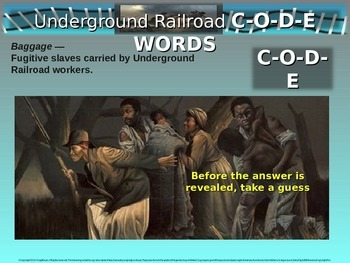 Underground Railroad CODE WORDS activity - Engaging PowerPoint and Handout