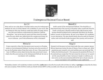 Underground Railroad Choice Board