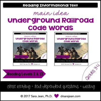 Underground Railroad Code Words • Reading Comprehension Passages • RL I & II