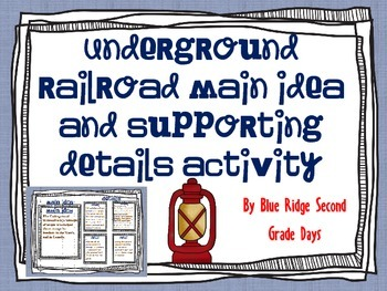 Underground Railroad Main Ideas and Supporting Details (wi
