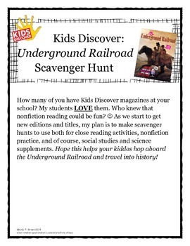 (Kids Discover) Underground Railroad Scavenger Hunt