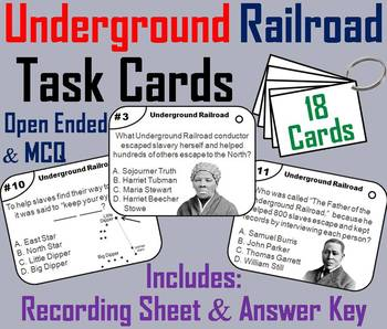 Underground Railroad Task Cards (Black History Month Unit)