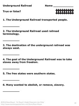 The Story of the Underground Railroad True or False