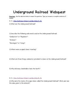 Underground Railroad Webquest