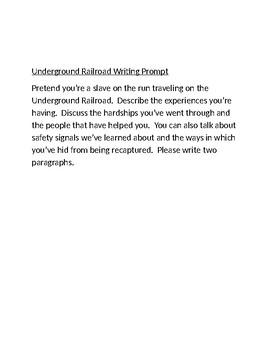 Underground Railroad Writing Prompt