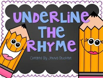 Underline The Rhyme (Rhyming Words Practice)