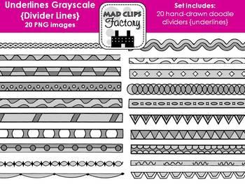 Underlines Grayscale {Divider Lines}