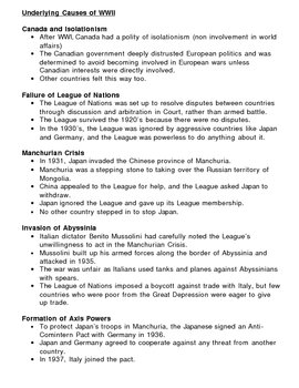 Underlying Causes of WWII - Canada - Overhead Note