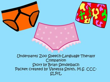 Underpants Zoo Speech-Language Therapy Companion Packet