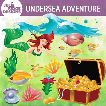 Undersea Clip Art with Mermaid and Treasure