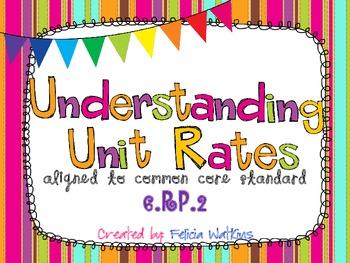 Understading Unit Rates Task Cards CCS 6.RP.2