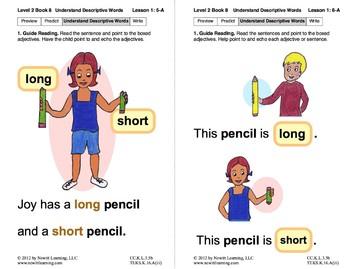 Understand Descriptive Words: Lesson 1, Book 8 (Newitt Prereading Series)