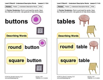 Understand Descriptive Words: Lesson 2, Book 8 (Newitt Prereading Series)