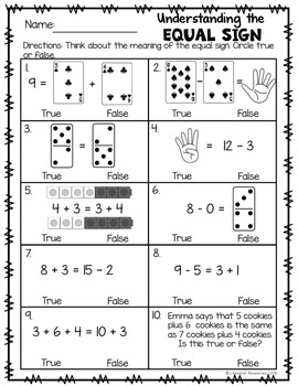 Understand Meaning of the Equal Sign Game and Printables