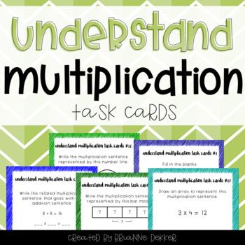 Understand Multiplication Task Cards - Third Grade GoMath!