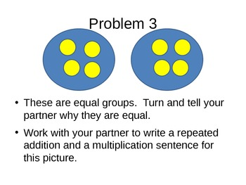 Understand equal groups of as multiplication
