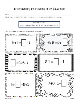 Equal Sign Math Center and Reteaching Printable 1st Grade