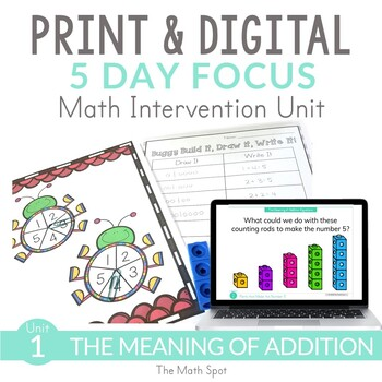 Basic Addition- First Grade Math Intervention and RtI