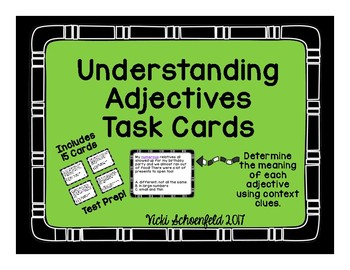 Understanding Adjectives Task Cards