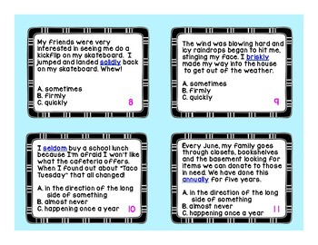 Understanding Adverbs Task Cards