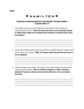 Understanding & Analyzing the Early Republic Through Hamilton: Cabinet Battle #1