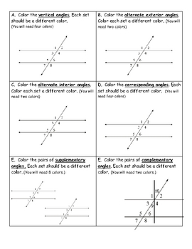 Complementary supplementary vertical adjacent and congruent angles worksheet pdf