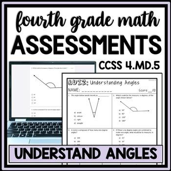 Understanding Angles Quiz, 4th Grade 4.MD.5 Measurement Assessment, 2 Versions