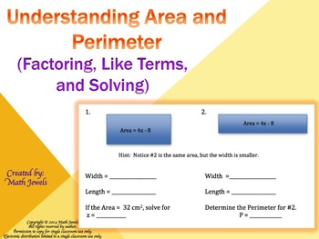 Understanding Area and Perimeter (Factoring, Like Terms and Solving)