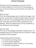 Understanding Author's Purpose - Practice Passages