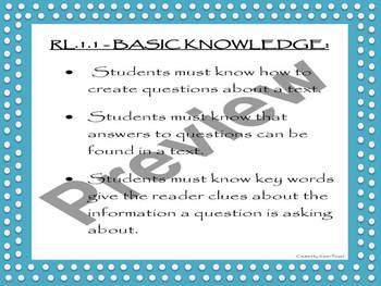Understanding CCSS RL.1.1 - Breaking Down the Standard