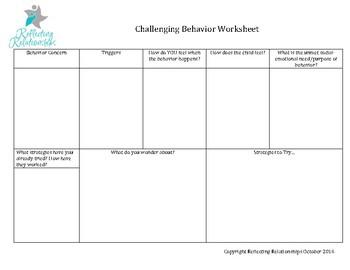 Understanding Challenging Behavior Worksheet