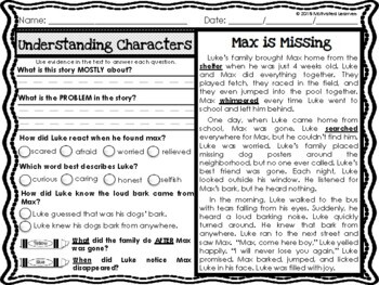 Understanding Characters Passages RL2.3 | Reading Comprehension Passages