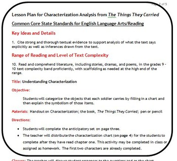 Understanding Characterization in The Things They Carried
