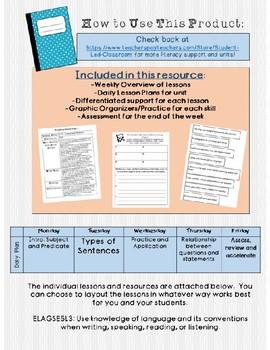 Understanding Complete Sentences Week Long Unit