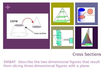 Cross Sections When a 3-D figure is sliced by a plane.