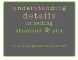 Understanding Details in Setting, Character & Plot Graphic Organizer Set