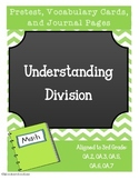 Understanding Division Common Core Vocab Cards, Pretest, and Journal Entries