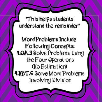 Understanding Division and Remainders in Word Problems Task Cards  & Worksheets