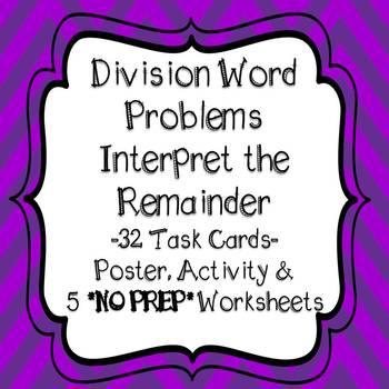 Division Word Problems Interpret The Remainder Task Cards Worksheets