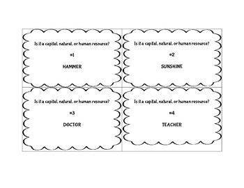 Understanding Economic Resources SCOOT Game ~ FUN Social Studies Activity ~