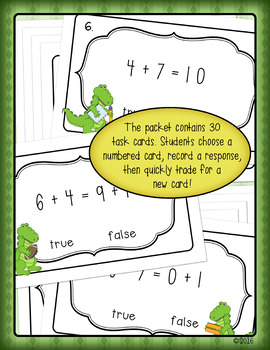 True or False? Understanding Equality Math Review for First & Second Grade
