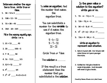 Understanding Equations Print n' Fold (Foldable) Interactive Notebook