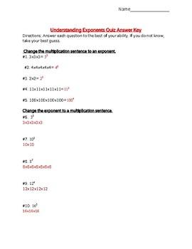 Understanding Exponents Quiz