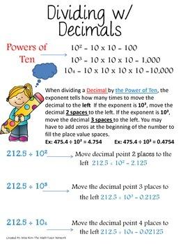 Understanding Exponents and Powers of Ten {Multiplying/Dividing Decimals}